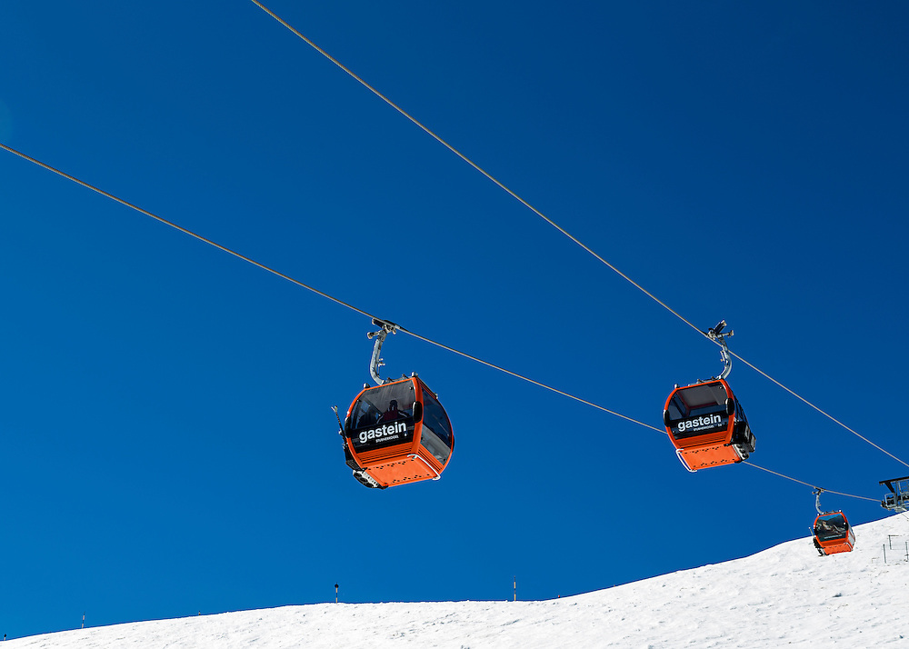 Cable cars travelling above the ski slopes of Bad Gastein in the Austrian Alps. Bad Gastein is a major skiing area close to Salzburg offering extensive skiing and is famous for its health spas.