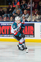 KELOWNA, CANADA - FEBRUARY 8: Michael Farren #16 of the Kelowna Rockets skates with the puck against the Prince George Cougars  on February 8, 2019 at Prospera Place in Kelowna, British Columbia, Canada.  (Photo by Marissa Baecker/Shoot the Breeze)