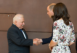 The Duke and Duchess of Cambridge with former Polish president Lech Walesa during a visit to the European Solidarity Movement museum, the birthplace of Poland's Solidarity movement that helped topple Communist rule.