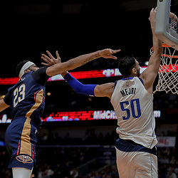 Dec 29, 2017; New Orleans, LA, USA; New Orleans Pelicans forward Anthony Davis (23) fous Dallas Mavericks center Salah Mejri (50) during the first quarter at the Smoothie King Center. Mandatory Credit: Derick E. Hingle-USA TODAY Sports
