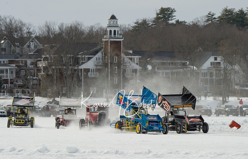 #44 Mark Smart, #60 Sam Grad, #20 Alan Darrah, #5 Fabian Smith and #0 Mike Frank race in the Modified class Sunday afternoon during the Nostalgic Latchkey Cup on Meredith Bay.  (Karen Bobotas/for the Laconia Daily Sun)