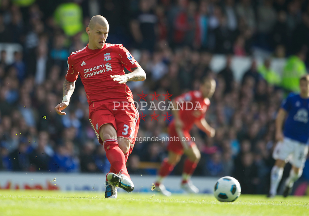 LIVERPOOL, ENGLAND - Sunday, October 17, 2010: Liverpool's Martin Skrtel in action against Everton during the 214th Merseyside Derby match at Goodison Park. (Photo by David Rawcliffe/Propaganda)