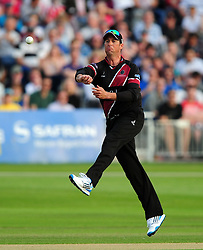 Marcus Trescothick of Somerset fields the ball - Photo mandatory by-line: Dan Mullan/JMP - 07966 386802 - 16/05/2014 - SPORT - CRICKET - County Cricket Ground - Gloucester Cricket v Somerset Cricket - T20