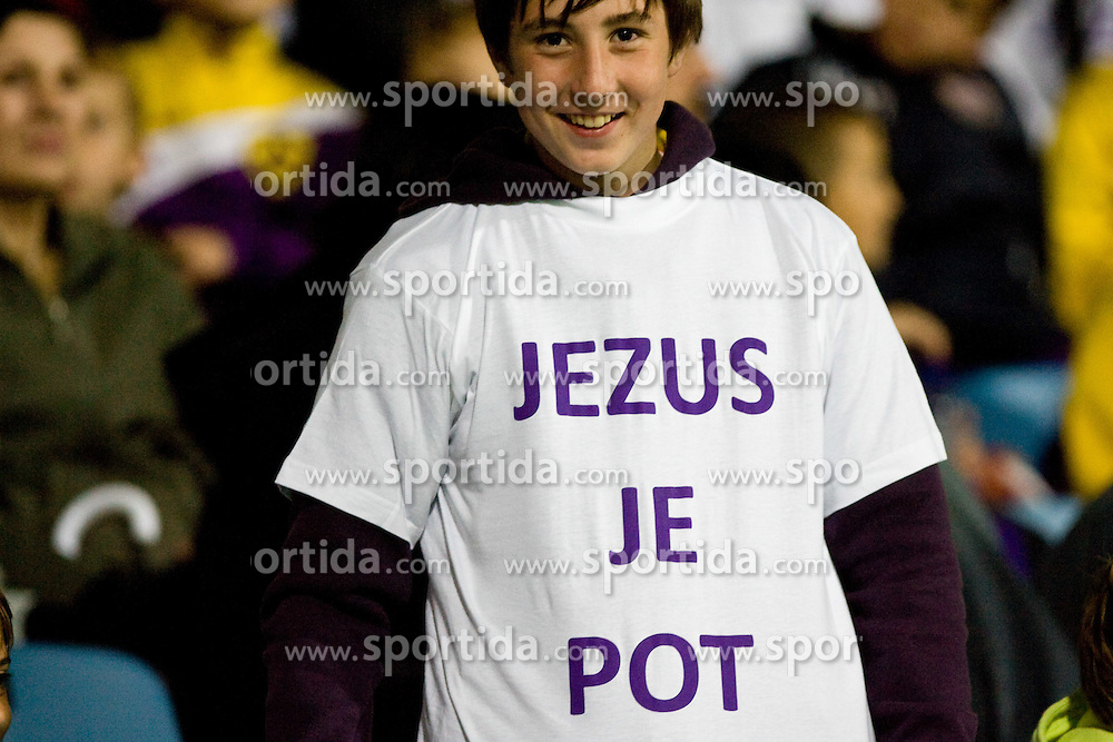 Young fan Marcos Tavares of Maribor  at Final football match  of Hervis Cup between NK Maribor and NK Domzale, on May 8, 2010, played in Ljudski vrt, Maribor, Slovenia. Maribor defeated Domzale after overtime 3-2 and became Slovenian Cup Champion. (Photo by Vid Ponikvar / Sportida)