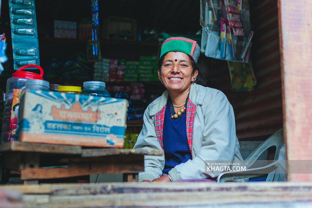 Portrait of a smiling Kinnauri Lady at Kalpa, Kinnaur