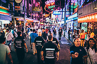 Volunteers of the Foreign Tourist Police patrol Walking Street in Pattaya, Thailand.