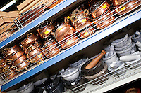 Kitchenwares on display in utensil store