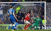 Charlton Athletic striker Reza Ghoochannejhad scores during the Sky Bet Championship match between Brighton and Hove Albion and Charlton Athletic at the American Express Community Stadium, Brighton and Hove, England on 5 December 2015. Photo by Bennett Dean.