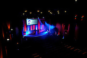 The stage is set for The gloves are off. An Evening With Julian Speroni at  at Fairfields Hall, Croydon, United Kingdom on 20 January 2015. Photo by Michael Hulf.