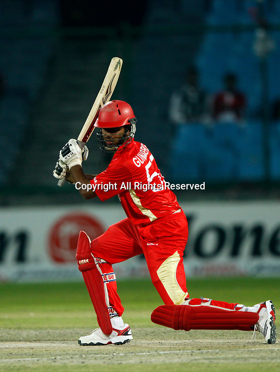 07.03.2011 Cricket World Cup from the Feroz Shah Kotla stadium in Delhi. Canada v Kenya. Ruvindu Gunasekera plays a shot during the match of the ICC Cricket World Cup between Canada and Kenya