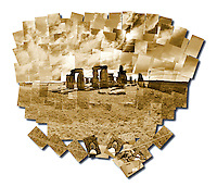 Sepia toned photo collage of Stonehenge, outside of Salisbury, England.