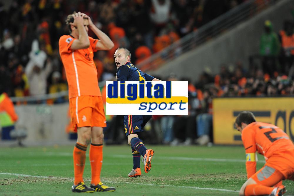 FOOTBALL - FIFA WORLD CUP 2010 - FINAL - NETHERLANDS v SPAIN - 11/07/2010 - PHOTO FRANCK FAUGERE / DPPI - JOY ANDRES INIESTA (SPA) AFTER HIS GOAL