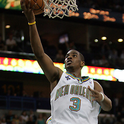 New Orleans Hornets guard Chris Paul #3 shoots against the Golden State Warriors in the fourth quarter of their NBA game on April 6, 2008 at the New Orleans Arena in New Orleans, Louisiana.