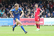 Paul Robinson defender for AFC Wimbledon (6) scores the winner during the Sky Bet League 2 match between AFC Wimbledon and Crawley Town at the Cherry Red Records Stadium, Kingston, England on 16 April 2016. Photo by Stuart Butcher.
