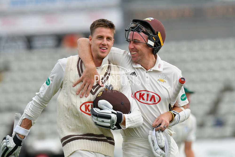 Surrey are Champions - Morne Morkel of Surrey and Rikki Clarke of Surrey celebrate winning the County Championship during the final day of the Specsavers County Champ Div 1 match between Worcestershire County Cricket Club and Surrey County Cricket Club at New Road, Worcester, United Kingdom on 13 September 2018.
