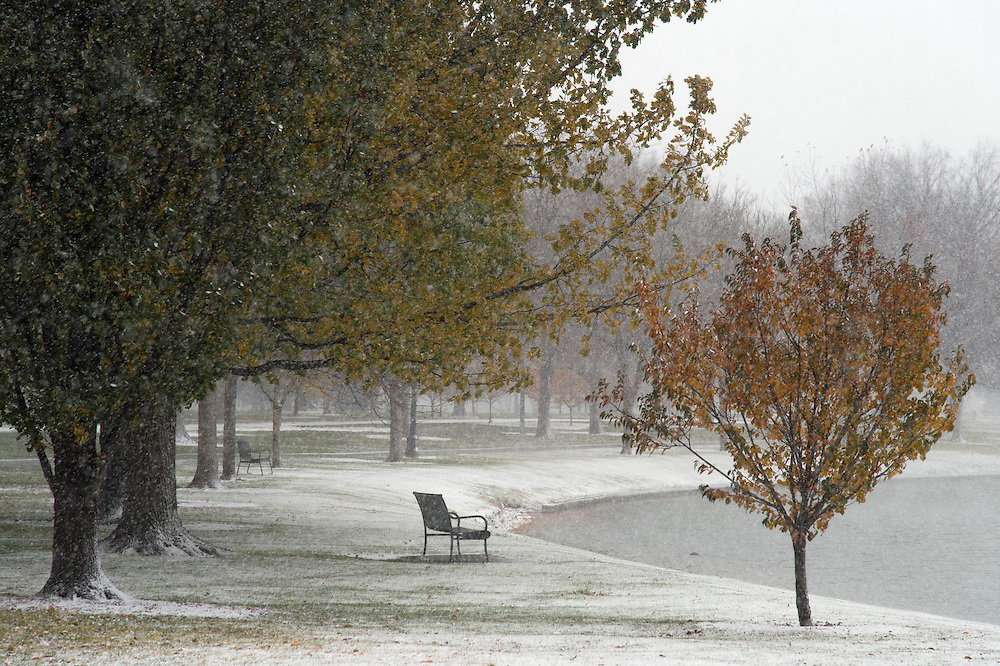 A lone park bench looks over the lake at City Park in Denver, Colorado on September 10, 2014.