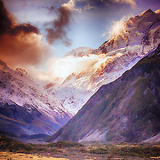 New Zealand's hightest mountain, peaks out from under the clouds.