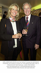 MRS JAMES BUCHANAN and her father TV presenter NICHOLAS PARSONS, at a party in London on 13th September 2001.	OSF 21