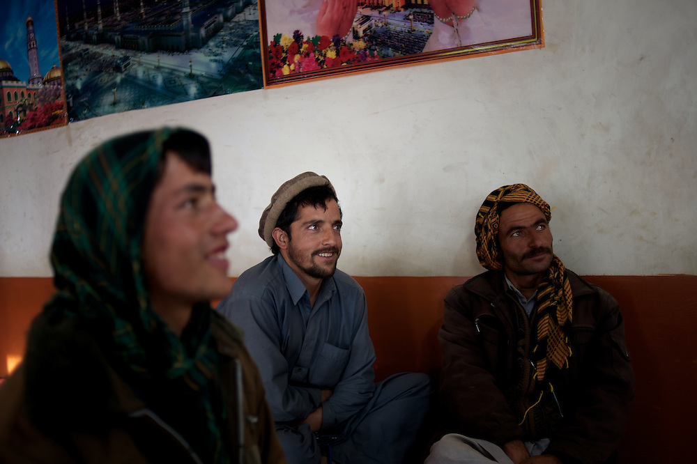 November 09, 2012 - Panjshir, Afghanistan: Locals watch TV in a restaurant in one of the villages of the Panjshir Valley. (Paulo Nunes dos Santos)