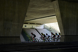 Peloton pass under the highway at Amstel Gold Race - Ladies Edition 2018, a 116.9 km road race from Maastricht to Berg en Terblijt on April 15, 2018. Photo by Sean Robinson/Velofocus.com