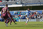 Queens Park Rangers midfielder Jordan Cousins (8) shoots during the EFL Sky Bet Championship match between Queens Park Rangers and Swansea City at the Loftus Road Stadium, London, England on 13 April 2019.