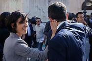 Roma 19 Aprile 2013.Proteste davanti a Montecitorio  dei partiti del centro-destra per la candidatura di Romano Prodi alla Presidenza della Repubblica da parte del Partito Democratico. Mara Carfagna accarezza Maurizio Lupi