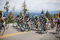 Laura Massey of Drops Cycling Team rides up the Emerald Bay climb during the first, 117 km road race stage of the Amgen Tour of California - a stage race in California, United States on May 19, 2016 in South Lake Tahoe, CA.