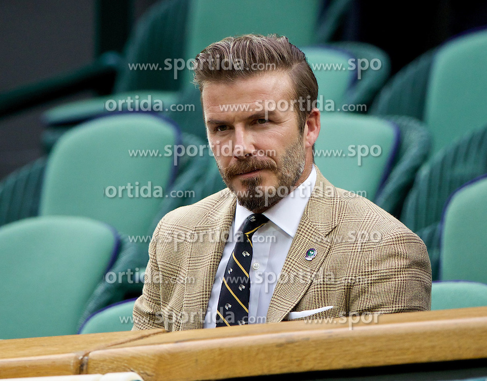 28.06.2014, All England Lawn Tennis Club, London, ENG, WTA Tour, Wimbledon, im Bild David Beckham in the Royal Box during day six // 15065000 during the Wimbledon Championships at the All England Lawn Tennis Club in London, Great Britain on 2014/06/28. EXPA Pictures &copy; 2014, PhotoCredit: EXPA/ Propagandaphoto/ David Rawcliffe<br /> <br /> *****ATTENTION - OUT of ENG, GBR*****