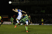 Lyle Taylor of AFC Wimbledon and Tom Lockyer of Bristol Rovers FC battle during the Sky Bet League 2 match between Bristol Rovers and AFC Wimbledon at the Memorial Stadium, Bristol, England on 8 March 2016. Photo by Stuart Butcher.