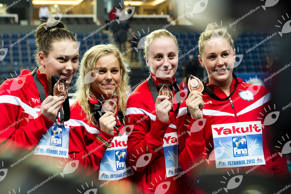 DENMARK Bronze Medal.Women 4x100m Freestyle.FINA World Short Course Swimming Championships.Istanbul Turkey 12 - 16 Dec. 2012.Day 04.Photo G.Scala/Deepbluemedia/Inside