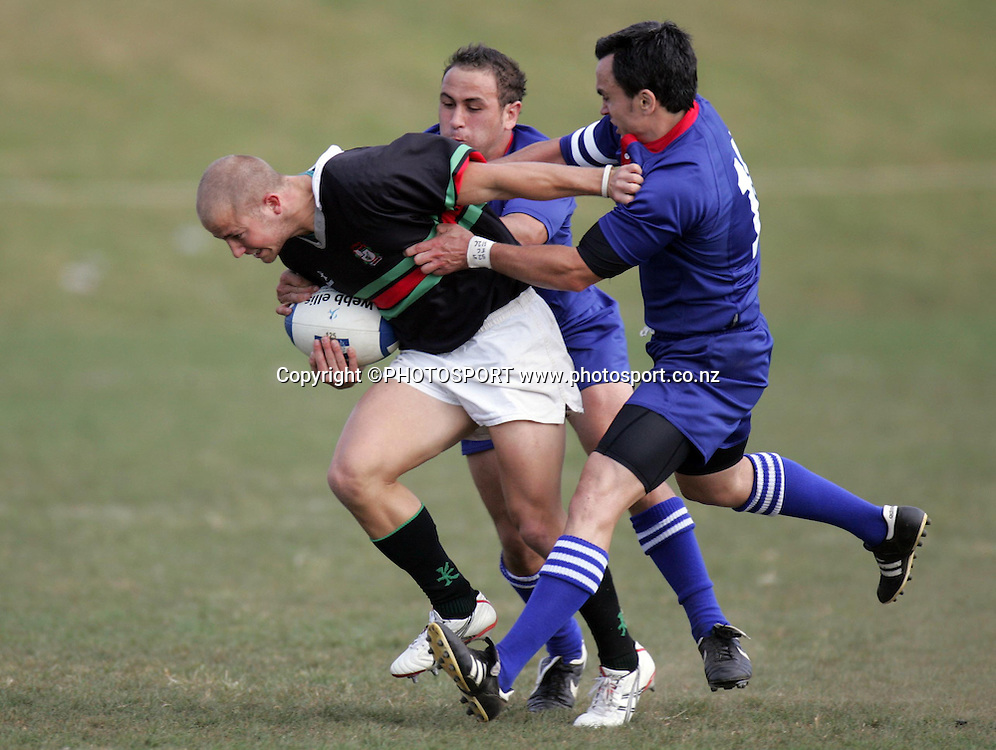 Waitemata second five Tyler Dill-Russell on the charge. Auckland Club Rugby, University v Waitemata, Colin Maiden Park, Auckland, Saturday 12 April 2008. Photo: Renee McKay/PHOTOSPORT
