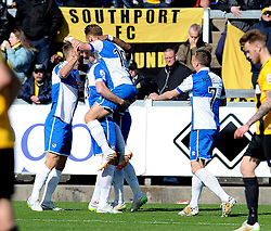 Bristol Rovers celebrate Bristol Rovers' Matty Taylor goal - Photo mandatory by-line: Neil Brookman/JMP - Mobile: 07966 386802 - 11/04/2015 - SPORT - Football - Bristol - Memorial Stadium - Bristol Rovers v Southport - Vanarama Football Conference