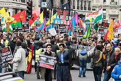 London, March 6th 2016. Thousands of Kurds and their supporters from across the UK gather in London to march from the BBC to a rally in Trafalgar Square in protest against what they say is a war of persecution, accusing the Erdogan government of funding the Islamic State to fight against separatists in Eastern Turkey. &copy;Paul Davey<br /> FOR LICENCING CONTACT: Paul Davey +44 (0) 7966 016 296 paul@pauldaveycreative.co.uk
