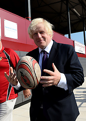 Mayor of London launches new sports facility in Croydon. <br /> Mayor of London, Boris Johnson visits Streatham and Croydon RFC to officially open the new grandstand and train with the junior team, Croydon, United Kingdom, Thursday, 5th September 2013. Picture by Ben  Stevens / i-Images