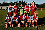 The Woolpack Wanderers team photo before they play the Garrison Gunners in a Charity Shield match on the island of St. Marys in the Isles of Scilly Sunday Nov. 11, 2007 Picture by Christopher Pledger/The Daily Telegraph.Back Row LtoR Dave Stone (bank manager), Paul Williams (chef), Mark Mavers (captain, builder), Julian Morell (teacher), Anthony Gibbons (chef)..Front Row LtoR Connor Oakley (student), Anthony Gilbert (builder), Mark Britten (waiter), Andrew Hicks, (boat builder), and Lewis Brown, (student).