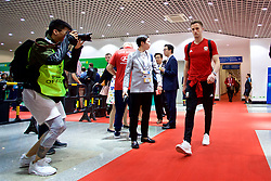 NANNING, CHINA - Monday, March 26, 2018: Wales' Andy King arrives before the 2018 Gree China Cup International Football Championship Final between Wales and Uruguay at the Guangxi Sports Centre. (Pic by David Rawcliffe/Propaganda)