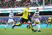 Burton Albion midfielder Lasse Christensen (24) with a shot on goal during the EFL Sky Bet Championship match between Queens Park Rangers and Burton Albion at the Loftus Road Stadium, London, England on 28 January 2017. Photo by Matthew Redman.