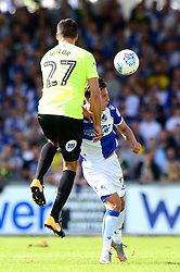 Tom Nichols of Bristol Rovers challenges for a header with Steven Taylor of Peterborough United - Mandatory by-line: Dougie Allward/JMP - 12/08/2017 - FOOTBALL - Memorial Stadium - Bristol, England - Bristol Rovers v Peterborough United - Sky Bet League One