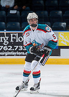 KELOWNA, CANADA - SEPTEMBER 3: Konrad Belcourt #5 of Kelowna Rockets skates against the Victoria Royals on September 3, 2016 at Prospera Place in Kelowna, British Columbia, Canada.  (Photo by Marissa Baecker/Shoot the Breeze)  *** Local Caption *** Konrad Belcourt;