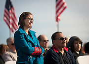 Katie Scholl, daughter of fallen TSgt. Mark Scholl, sheds a tear during the memorial service and dedication of a monument honoring 12 Army Rangers and Air Force special operations troops who were killed in a helicopter crash during training near Antelope Island 20 years ago, Saturday, Oct. 27, 2012.