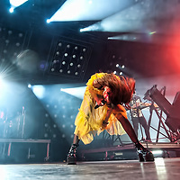 Glasgow, Scotland, UK. 16th February, 2019. Glasgow Syth Pop band Chvrches perform at the SSE Hydro. Credit: Stuart Westwood/Alamy Live News