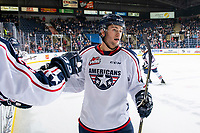 KELOWNA, BC - OCTOBER 2:  Marc Lajoie #28 of the Tri-City Americans celebrates a goal at the bench with fist bumps against the Kelowna Rockets at Prospera Place on October 2, 2019 in Kelowna, Canada. (Photo by Marissa Baecker/Shoot the Breeze)