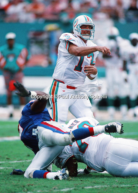 Miami Dolphins quarterback Dan Marino (13) grimaces as throws a pass under defensive pressure during the NFL football game against the New England Patriots on Nov. 12, 1995 in Miami Gardens, Fla. The Patriots won the game 34-17. (©Paul Anthony Spinelli)