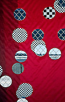 New York, New York City. Fence graphic on red background.