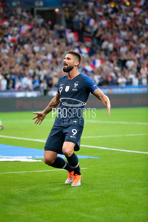 Olivier Giroud (FRA) scored a goal and celebrated it during the UEFA Nations League, League A, Group 1 football match between France and Netherlands on September 9, 2018 at Stade de France stadium in Saint-Denis near Paris, France - Photo Stephane Allaman / ProSportsImages / DPPI