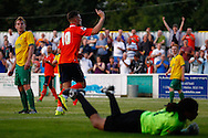 Alex Wall of Luton Town (centre) celebrates scoring his team's third goal to make it 0-3 during the Pre Season Friendly match at Top Field, Hitchin<br /> Picture by David Horn/Focus Images Ltd +44 7545 970036<br /> 17/07/2014