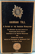 "SHANNAH08P<br /> The plaque honoring Hannah Till is seen during a dedication ceremony Saturday October 3, 2015 at Eden Cemetery in Collingdale, Pennsylvania. Hannah Till, a free black woman and unsung hero of the Revolutionary War who worked for Gens. George Washington and Lafayette is being honored as a ""Patriot"" by the Daughters of the American Revolution with a special ceremony and headstone dedication at Eden Cemetery, a historically-black cemetery in Collingdale. (William Thomas Cain/For The Inquirer)"