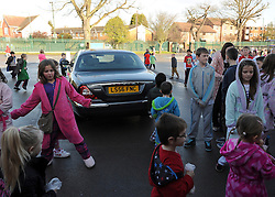 © Licensed to London News Pictures. 27/01/2012, Solihull, UK. The Deputy Prime Ministers car parked on the playground. NICK CLEGG  the British Deputy Prime Minister and Liberal Democrat leader is joined by Member of Parliament for Solihull LORLEY BURTat Peterbrook Primary School, Solihull, to see how the local primary school is using its Pupil Premium money. 27th January 2012.   Photo credit : Stephen Simpson/LNP