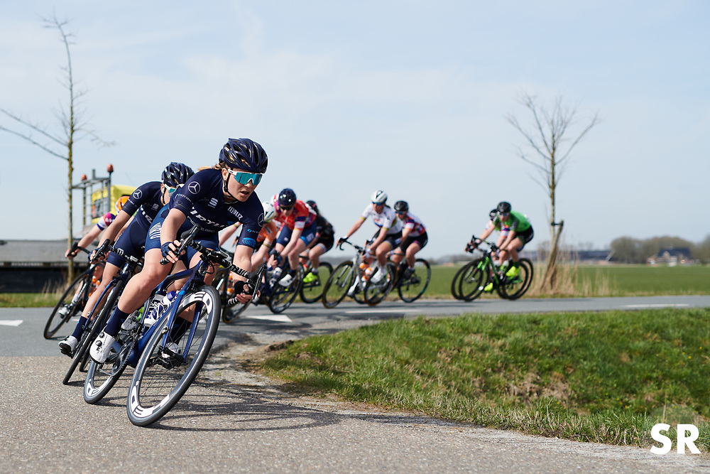 Emilie Moberg (NOR) leads the front group at Healthy Ageing Tour 2018 - Stage 4, a 143 km road race starting and finishing in Winsum on April 7, 2018. Photo by Sean Robinson/Velofocus.com