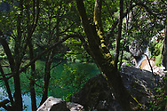 The idyllic scenery of Poço Negro, the small waterfall of Teixeira river at Manhouce.